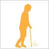 杖をつく人の影絵イラスト イラレ編集用ベクトルデータを無料配布
