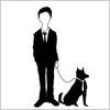 スーツの人と犬のイラスト イラレ/ベクトルデータ【無料配布】