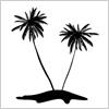 常夏の象徴 やしの木の影絵イラスト