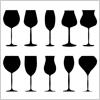 多種多様!編集可能な10種類のワイングラス・シャンパングラス 影絵データ