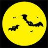 満月の夜、ハロウィンを演出するコウモリのイラスト素材
