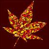 赤や黄色の色づいた葉っぱでつくったもみじのイラスト