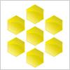 ヘキサゴン 金色の六角形を7つ並べた図形 web素材