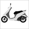白い原動機付きバイクのイラスト