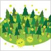 杉の林から花粉が舞うイラスト
