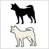 日本犬のイラストと影絵素材
