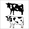 乳牛のイラストと影絵素材