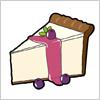 ブルベリーが添えられた、レアチーズケーキのイラスト