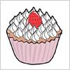 いちごがのったカップケーキのイラスト