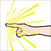 人差し指でプッシュしているような手のイラスト