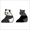 パンダのイラストと影絵素材