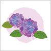 紫陽花の手描き風イラスト