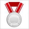 赤い帯のついたシルバーメダルのイラスト