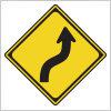 右への背向屈曲を表す道路標識