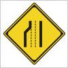 車線数の減少を表す道路標識
