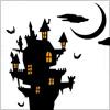 不気味な城のイラスト、ハロウィン素材