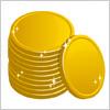 メダルコインが積み重なったイラスト