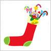 プレゼントやスティックの入った、赤い靴下のクリスマスイラスト
