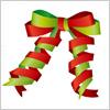 赤と緑のクリスマスカラーを使ったリボンイラスト