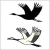 鶴のイラストと影絵素材