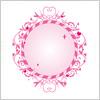 ハートをモチーフにした可愛らしいピンク色のオーバルフレームイラスト