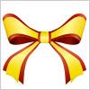 赤と黄色の2色が重なる蝶形リボンイラスト