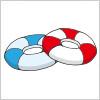 ドーナツ状の浮き輪のイラスト