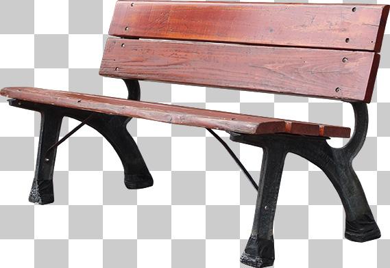 街にある木製のベンチの切り抜き透過画像