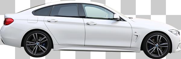 横から見た白い車の切り抜き透過画像