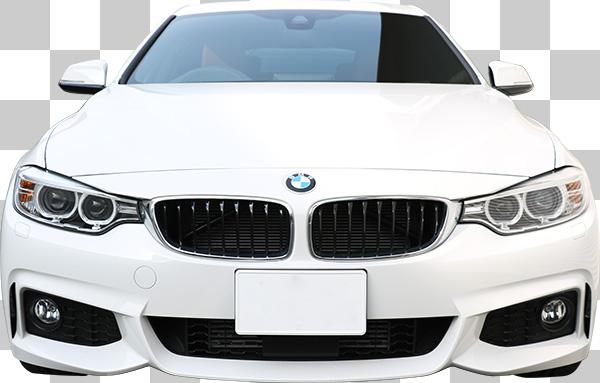 正面から見た白い車の切り抜き透過画像