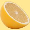 斜めから見たグレープフルーツの断面の切り抜き透過画像