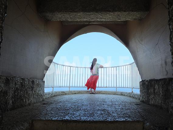 海を眺めるを女性の後ろ姿
