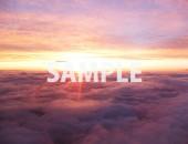 機内から撮った、日が沈む寸前の空