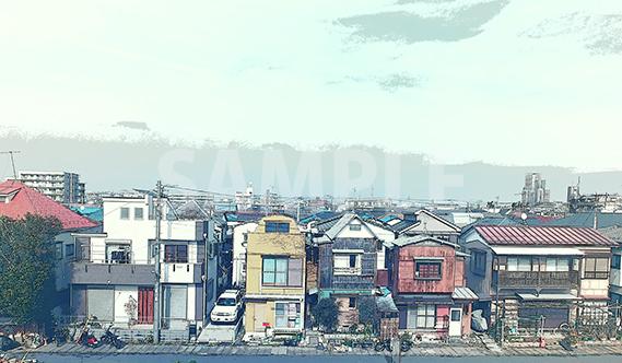 家が連なる風景にエッジのポスタリゼーションの加工