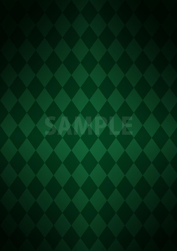 緑色の菱形を組み合わせたパターンから作成したちょっと暗めのA4サイズ背景素材