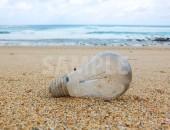 砂浜に転がる電球の写真、フリー素材データ