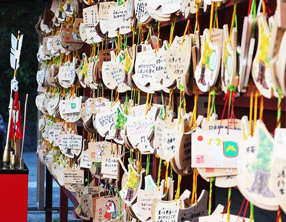 鶴岡八幡宮の大銀杏型をした絵馬