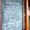 バリのレストランの黒板を利用した看板
