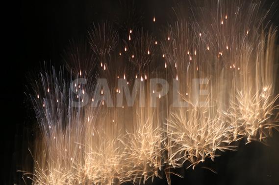 縦に伸び上がる花火