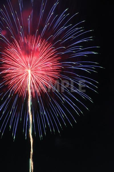 赤・青色の打ち上げ花火
