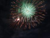 緑・赤の2つの打ち上げ花火