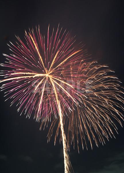 ピンクと黄色の2つの打ち上げ花火