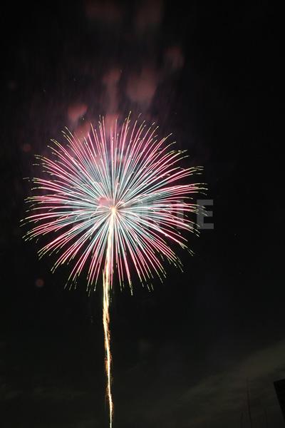 青&ピンクの鮮やかな打ち上げ花火