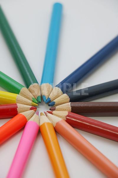 斜め上から見た放射状に並ぶ色鉛筆の写真(中央ずらし)