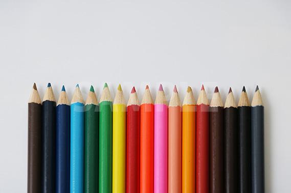 キレイに整列する色鉛筆の写真