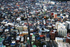 ジオラマ風の街並みの写真・フォト