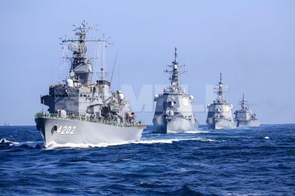 観艦式の写真「4202くろべ 173こんごう 174きりしま 464ぶんご」護衛艦,日本