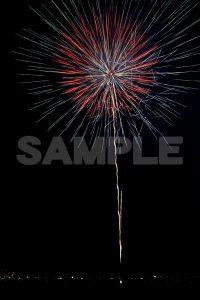 朱色・緑色の打ち上げ花火打ち上げ花火,江戸川花火大会,無料の写真