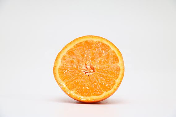 ハーフカットされたオレンジの写真・フォト