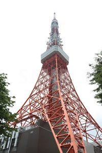 斜めから見上げる東京タワーの写真・フォト
